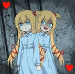 2girls akai_haato artist_name bangs blonde_hair blue_dress clenched_hands collared_dress dress dual_persona empty_eyes hair_ornament hair_ribbon hand_on_another's_shoulder heart heart_hair_ornament himuhino hololive looking_at_another looking_at_viewer multiple_girls nervous open_mouth prison ribbon sketch sweat virtual_youtuber younger