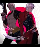 2boys archer_(fate) bare_pectorals dark_skin dark_skinned_male dual_persona emiya_alter fate/grand_order fate/stay_night fate_(series) gun jacket kanshou_&_bakuya_(fate) letterboxed multiple_boys namahamu_(hmhm_81) pectorals red_jacket reverse_grip sword weapon white_hair