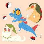 abstract chikorita claws cyndaquil gen_2_pokemon highres leaf looking_at_another lorenzocolangeli poke_ball pokemon pokemon_(creature) signature simple_background sitting totodile