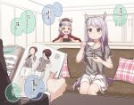 1boy 2girls :d animal_ears black_jacket blurry blurry_background blush bow brown_headwear collarbone commentary_request couch cup depth_of_field ear_covers gold_ship_(umamusume) grey_hair grey_shirt hair_bow hat highres holding holding_cup holding_saucer horse_ears horse_girl horse_tail indoors jacket long_hair magazine mejiro_mcqueen_(umamusume) mini_hat multiple_girls on_couch open_mouth parted_lips plaid_pillow purple_bow purple_hair red_shirt saucer shirt short_sleeves sitting skirt smile tail trainer_(umamusume) translation_request umamusume violet_eyes white_skirt yukie_(kusaka_shi)