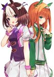 2girls :d agaki_anko animal_ears back-to-back blush bow braid breasts brown_hair brown_vest collared_shirt ear_bow frilled_skirt frills green_eyes hand_up highres holding_hands horse_ears jacket long_hair long_sleeves looking_at_viewer multicolored_hair multiple_girls neck_ribbon open_clothes open_jacket open_mouth orange_hair parted_lips pleated_skirt puffy_short_sleeves puffy_sleeves purple_bow purple_ribbon ribbon shirt short_over_long_sleeves short_sleeves silence_suzuka_(umamusume) simple_background skirt small_breasts smile special_week_(umamusume) two-tone_hair umamusume upper_teeth vest violet_eyes white_background white_hair white_jacket white_shirt white_skirt