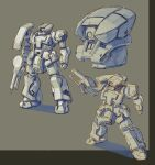 clenched_hand greyscale gun gundam highres holding holding_gun holding_weapon kyouno_oyatuwa_udon looking_down mecha mobile_suit mobile_suit_gundam monochrome multiple_views no_humans one-eyed redesign science_fiction sketch standing weapon zaku zeon