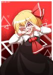 1girl ascot black_dress blonde_hair blouse bow bowtie cravat dress hair_bow hair_ribbon highres hoshii_1213 long_dress necktie red_bow red_eyes red_neckwear red_ribbon ribbon rumia shirt short_hair touhou triangle white_blouse white_shirt wing_collar