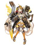 1girl :d armor blonde_hair blue_eyes cannon car controller excavator frills full_body game_controller ground_vehicle helmet holding holding_sword holding_weapon ji_no knee_pads long_hair looking_at_viewer motor_vehicle official_art open_mouth pigeon-toed rapunzel_(sinoalice) shoes sinoalice smile sneakers solo sword transparent_background upper_teeth very_long_hair weapon