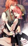 2girls bat_wings blue_eyes book braid breasts hat hat_ornament hat_removed head_wings headwear_removed headwear_switch highres hong_meiling koakuma long_hair looking_at_viewer multiple_girls nail_polish necktie one_eye_closed open_mouth orange_hair red_eyes redhead risui_(suzu_rks) shelf smile star_(symbol) star_hat_ornament touhou v wings