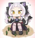 1girl :3 animal_ears bangs black_dress blunt_bangs blush blush_stickers bow cat_ears cat_girl cat_tail chibi criss-cross_halter dress dress_bow earrings flying_sweatdrops frilled_dress frilled_ribbon frills full_body gothic_lolita grass hair_ribbon halter_dress halterneck hololive jewelry lolita_fashion long_hair murasaki_shion pantyhose pulling purple_legwear ribbon short_eyebrows sidelocks silver_hair sitting sleeveless sleeveless_dress star_(symbol) tail tail_bow tail_ornament tonton_(tonz159) triangle_earrings twintails virtual_youtuber yellow_eyes