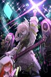 2girls ahoge artoria_pendragon_(all) crying fate/grand_order fate_(series) glasses glowing glowing_finger glowstick guitar highres hood instrument kan_(aaaaari35) microphone miss_crane_(fate) multiple_girls mysterious_idol_x_(alter)_(fate) pointing pointing_up speaker