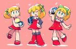 3girls :> :d :o absurdres blonde_hair boots closed_mouth copyright_request dress flying_sweatdrops green_eyes green_ribbon hair_ribbon halftone hand_on_hip heart highres holding knee_boots legs_together long_sleeves looking_at_viewer mega_man_(series) motion_lines multiple_girls musical_note notice_lines one_eye_closed open_mouth parted_lips ponytail rariatto_(ganguri) red_dress red_footwear ribbon roll_(mega_man) short_dress smile spoken_musical_note standing standing_on_one_leg upper_teeth