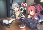 2girls absurdres beret blue_eyes bowl breasts candy collar commission english_text fingerless_gloves food girls_frontline gloves grey_hair hat highres honey_badger honey_badger_(girls_frontline) llpfmfc lollipop long_hair medium_breasts mp7_(girls_frontline) multiple_girls nail_polish off_shoulder red_nails redhead side_ponytail skeb_commission yellow_eyes