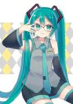 1girl :3 absurdly_long_hair ahoge aqua_eyes aqua_hair aqua_neckwear arm_support bare_shoulders bespectacled black-framed_eyewear black_legwear black_skirt blush closed_mouth collared_shirt commentary_request detached_sleeves dress_shirt glasses grey_shirt hair_between_eyes hatsune_miku long_hair looking_at_viewer necktie pleated_skirt sabako_akikan shiny shiny_hair shirt simple_background sitting skirt sleeveless sleeveless_shirt smile solo thigh-highs twintails two-tone_skirt very_long_hair vocaloid zettai_ryouiki