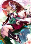 1girl animal_ears bangs bell black_legwear black_panties blonde_hair bow breasts cherry_blossom_print cherry_blossoms commentary_request detached_sleeves dutch_angle eyebrows_visible_through_hair floral_print fox_ears fox_girl fox_mask fox_shadow_puppet fox_tail geta gradient_hair green_bow green_eyes green_hair hair_between_eyes hip_vent japanese_clothes jingle_bell kneehighs lace-trimmed_panties lace_trim large_bow legs light_smile looking_at_viewer mask medium_breasts medium_hair multicolored_hair obi original outdoors panties parted_lips pleated_skirt red_skirt ribbon ribbon-trimmed_legwear ribbon_trim sash shirokitsune shiroro sitting skirt solo tabi tail thigh_strap tree_branch underwear white_legwear wide_sleeves