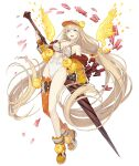 1girl :d absurdly_long_hair aqua_eyes blonde_hair flower full_body holding holding_lance holding_polearm holding_weapon ji_no lance long_hair looking_at_viewer official_art open_mouth petals polearm rapunzel_(sinoalice) single_thighhigh sinoalice smile solo swimsuit thigh-highs transparent_background upper_teeth very_long_hair visor_cap weapon