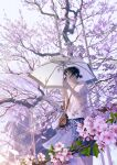 1girl bag black_hair blue_skirt brown_eyes cherry_blossoms closed_mouth commentary_request day flower hair_bun highres holding holding_umbrella looking_away mocha_(cotton) original outdoors pink_flower purple_flower rain shirt short_sleeves shoulder_bag signature skirt smile solo tree tree_branch umbrella white_shirt white_umbrella wide_sleeves
