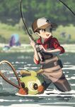 1boy alternate_costume amakara000 baseball_cap blurry blurry_background blush brown_eyes brown_hair day fishing fishing_rod gen_2_pokemon gen_8_pokemon hat highres holding holding_fishing_rod male_focus net open_mouth outdoors pokemon pokemon_(creature) pokemon_(game) pokemon_swsh quagsire red_shirt shirt short_hair sleeves_rolled_up smile symbol_commentary thwackey tongue upper_teeth victor_(pokemon) wading water