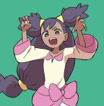 1girl arms_up bangs bow bright_pupils brown_eyes collarbone commentary_request eyelashes floating_hair green_background hair_tie holding holding_poke_ball iris_(pokemon) long_hair oomura_yuusuke open_mouth poke_ball poke_ball_(basic) pokemon pokemon_(game) pokemon_bw purple_hair simple_background solo tied_hair tongue two_side_up upper_teeth white_pupils