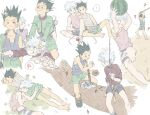 ... 2boys =3 ? anger_vein bandaid bangs barefoot black_hair blindfold clenched_teeth closed_eyes closed_mouth controller fishing_rod food fruit game_controller gon_freecss hair_pull head_bump highres holding hunter_x_hunter injury killua_zoldyck lure lying male_focus multiple_boys on_side on_stomach open_mouth playing_games shirt shorts silver_hair sitting sleeping spiky_hair spoken_anger_vein spoken_ellipsis squiggle tank_top tears teeth toripippi_7 torn_clothes watermelon