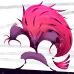abstract claws gen_5_pokemon highres looking_at_viewer lorenzocolangeli pink_ha pokemon pokemon_(creature) purple_fur sharp_teethsimple_background teeth zoroark