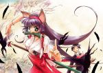 bird cat_ears crow green_eyes hair_ribbon hair_ribbons highres japanese_clothes long_hair miko mouth_hold ofuda purple_hair ribbon scroll sword tail talisman weapon
