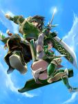 1boy 1girl arm_up armor armpits black_hair blue_sky green_panties guan_ping huge_weapon ichigo_matsuri panties shield shin_sangoku_musou short_hair sky sword underwear weapon xing_cai