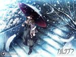 1024x768 black_hair blue_eyes boots cartagra feathers green_eyes hakama japanese_clothes kouzuki_kazuna oriental_umbrella sad_girl_in_snow scarf snow stairs sugina_miki umbrella wallpaper yagasuri