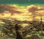 cloud clouds cross gecco grave haori hirasawa_geko japanese_clothes sign sky sun sunset