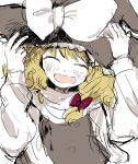 1girl blonde_hair closed_eyes happy hat holding holding_hat kirisame_marisa laughing nanzuyo_(gnsi) smile solo touhou