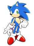 1boy artsy-rc closed_mouth commentary english_commentary gloves green_eyes halftone happy hedgehog_boy hedgehog_ears highres looking_at_viewer no_humans pokemon red_footwear signature simple_background smile solo sonic_(series) sonic_the_hedgehog white_background white_gloves