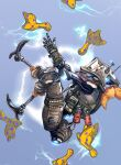 1boy blue_background cable electricity explosive floating from_side grenade highres humanoid_robot kotone_a looking_up nessie_(respawn) no_humans pilot_(titanfall_2) science_fiction simulated_paizuri solo_focus stuffed_animal stuffed_toy titanfall_(series) titanfall_2