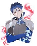 1boy armor blue_hair bodysuit crossed_arms cu_chulainn_(fate/extra) earrings fate/extra fate_(series) jewelry long_hair male_focus namahamu_(hmhm_81) pauldrons ponytail red_eyes red_fire shoulder_armor smile solo upper_body