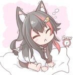 :< alarm_clock animal_ear_fluff animal_ears barefoot black_hair black_shorts blush chibi chinoru clock closed_eyes closed_mouth commentary_request drawstring facing_viewer hair_ornament highres hololive hood hood_down hoodie multicolored_hair ookami_mio redhead short_shorts shorts sitting soles streaked_hair stretch tail trembling virtual_youtuber white_hoodie wolf_ears wolf_girl wolf_tail