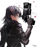 1girl b3_wingman_elite black_hair black_scarf english_commentary from_behind gun hair_behind_ear hair_ornament highres holding holding_gun holding_weapon kotone_a personification pilot_suit red_eyes revolver scarf smile solo titanfall_(series) titanfall_2 weapon