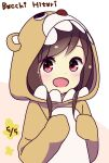 1girl :d animal_costume animal_hood bangs bear_costume bear_hood blush brown_hair character_name commentary_request dated disconnected_mouth dot_nose hands_up happy highres hitori_bocchi hitoribocchi_no_marumaru_seikatsu hood hood_up katsuwo_(cr66g) long_hair looking_at_viewer open_mouth pink_background red_eyes smile solo two-tone_background white_background