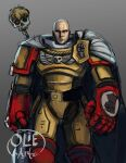 absurdres artificial_eye artist_name artist_request bald bionic cape crossover genos gradient gradient_background heraldry highres mechanical_eye mechanical_parts one-punch_man power_armor power_glove power_suit saitama_(one-punch_man) servo-skull signature simple_background skull space_marine space_marines warhammer_40k yellow_armor