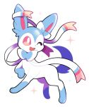 :d alternate_color artsy-rc full_body gen_6_pokemon highres no_humans open_mouth pokemon pokemon_(creature) shiny_pokemon signature simple_background smile sparkle sylveon symbol_commentary white_background