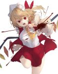 1girl :d absurdres ascot blonde_hair blood breasts bright_pupils commentary_request crystal eyebrows_visible_through_hair flandre_scarlet foot_out_of_frame foreshortening gominami hair_between_eyes hat highres medium_breasts mob_cap open_mouth pointy_ears reaching_out red_eyes red_skirt red_vest simple_background skirt smile solo standing standing_on_one_leg touhou vest white_background white_pupils wings yellow_neckwear