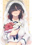 1girl alternate_headwear bangs black_eyes black_hair black_neckwear blouse bouquet bow bridal_veil character_name commentary_request cover cover_page crocroxxx dark_skin doujin_cover english_text eyebrows_visible_through_hair eyes_visible_through_hair flower girls_und_panzer hair_bow hair_over_one_eye half-closed_eyes holding holding_bouquet long_hair long_sleeves looking_at_viewer midriff neckerchief ogin_(girls_und_panzer) ooarai_naval_school_uniform open_mouth ponytail rating red_bow red_flower red_rose rose sailor sailor_collar school_uniform smile solo translated upper_body veil white_blouse white_sailor_collar