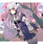 1girl :t alternate_hairstyle bangs blush commentary cowboy_shot dress eine_(eine_dx) eyebrows_visible_through_hair fire_emblem fire_emblem:_three_houses grey_legwear highres juliet_sleeves long_hair long_sleeves looking_at_viewer lysithea_von_ordelia pantyhose puffy_sleeves purple_dress short_dress silver_hair solo standing tree twintails violet_eyes