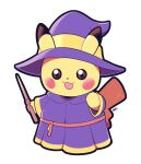 :3 :d artsy-rc commentary cosplay dress ears_through_headwear english_commentary gen_1_pokemon hat holding holding_wand looking_at_viewer no_humans open_mouth pikachu pikachu_(cosplay) pokemon pokemon_(creature) purple_dress purple_headwear red_sash sash signature simple_background smile solo wand white_background witch_hat