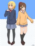 2girls arm_at_side bangs black_legwear blonde_hair blue_background blue_cardigan blush bow bowtie brown_footwear brown_hair buttons cardigan closed_mouth collared_shirt commentary_request cosplay costume_switch dated full_body green_eyes grey_skirt hair_ornament hair_scrunchie hand_up highres hitoribocchi_no_marumaru_seikatsu honshou_aru honshou_aru_(cosplay) kneehighs loafers long_hair long_sleeves looking_at_viewer miniskirt mole mole_under_eye multiple_girls orange_cardigan orange_eyes pantyhose pleated_skirt ponytail red_bow red_neckwear red_scrunchie school_uniform scrunchie shirt shoes short_hair side-by-side sidelocks skirt sleeves_past_wrists standing sunao_nako sunao_nako_(cosplay) tenkawa_daisou two-tone_background white_background white_shirt