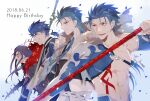4boys blue_hair crescent_necklace cu_chulainn_(caster)_(fate) cu_chulainn_(fate)_(all) cu_chulainn_(fate/prototype) cu_chulainn_(fate/stay_night) cu_chulainn_alter_(fate/grand_order) dated fate/grand_order fate_(series) fur_collar gae_bolg_(fate) happy_birthday highres igote long_hair multiple_boys multiple_persona namahamu_(hmhm_81) polearm ponytail red_eyes short_hair spear weapon