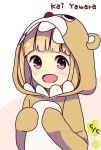 1girl :d animal_costume animal_hood bangs bear_costume bear_hood blunt_bangs blush character_name commentary_request dated disconnected_mouth dot_nose hands_up happy highres hitoribocchi_no_marumaru_seikatsu hood hood_up katsuwo_(cr66g) light_brown_hair looking_at_viewer open_mouth pink_background red_eyes short_hair smile solo two-tone_background white_background yawara_kai