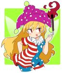 1girl :d american_flag american_flag_dress american_flag_legwear arm_behind_back bangs blonde_hair border clownpiece cropped_legs dress eyebrows_visible_through_hair fairy_wings green_background hat holding holding_torch ini_(inunabe00) jester_cap long_hair looking_to_the_side neck_ruff open_mouth polka_dot_headwear purple_headwear red_eyes short_sleeves simple_background smile solo standing star_(symbol) star_print striped striped_dress striped_legwear torch touhou v-shaped_eyebrows white_border wings