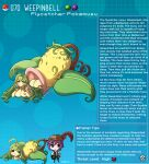 1boy 1girl ahoge artist_name breasts brown_eyes character_name character_profile colored_skin english_commentary english_text freckles gen_1_pokemon green_hair hat heart heart-shaped_pupils highres huge_ahoge kinkymation large_breasts long_hair monster_girl nude personification pitcher_plant plant plant_girl poke_ball pokemon purple_hair red_feathers saliva symbol-shaped_pupils weepinbell yellow_skin