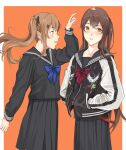 2girls bangs black_bow blue_neckwear blush bow bowtie brown_eyes brown_hair eyebrows_visible_through_hair feet_out_of_frame girls_frontline hair_bow hair_ornament hands_in_pockets highres jacket light_brown_hair long_hair looking_at_another looking_at_viewer multiple_girls open_mouth orange_background red_neckwear school_uniform simple_background standing ump45_(girls_frontline) ump9_(girls_frontline) yitiao_er-hua