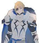 1boy armor blonde_hair blue_eyes cape dimitri_alexandre_blaiddyd eyepatch fire_emblem fire_emblem:_three_houses fire_emblem_heroes fur_collar male_focus namahamu_(hmhm_81) older pauldrons shoulder_armor solo