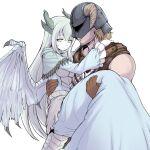 1boy 1girl bangs blush carrying colored_skin dovahkiin dragon_girl dragon_horns dragon_tail dragon_wings dress embarrassed genderswap genderswap_(mtf) green_eyes horns humanization long_dress long_hair monster_girl okamura_(okamura086) paarthurnax princess_carry sidelocks sweatdrop tail the_elder_scrolls the_elder_scrolls_v:_skyrim very_long_hair white_hair white_skin wings