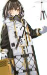 1girl absurdres arknights beak_mask brown_hair cameo charm_(object) closed_mouth coat commentary drone eyebrows_visible_through_hair gloves hair_between_eyes hand_up highres magallan_(arknights) mask_around_neck multicolored_hair short_hair sideways_glance silver_hair smile snow solo sorasima_sinome strap streaked_hair the_emperor_(arknights) theodolite two-tone_hair upper_body white_background white_coat white_gloves winter_clothes winter_coat yellow_eyes