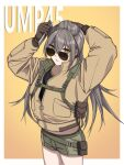 1girl backpack bag brown_eyes brown_gloves brown_jacket camouflage camouflage_shorts character_name character_request closed_mouth eyebrows_visible_through_hair feet_out_of_frame girls_frontline gloves grey_hair hair_brush hair_brushing hand_in_hair highres holding holding_brush jacket long_hair looking_at_viewer rainbow_six_siege shorts simple_background solo standing sunglasses ump45_(girls_frontline) yitiao_er-hua