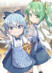 2girls alternate_costume bakery blue_bow blue_eyes blue_hair blush bow bread cirno closed_mouth commentary_request commission daiyousei eyebrows_visible_through_hair fairy_wings feet_out_of_frame food green_eyes green_hair grin hair_bow holding indoors kobeya kobeya_uniform looking_at_viewer looking_back multiple_girls one_side_up plaid shop short_hair skeb_commission smile toto_nemigi touhou wings
