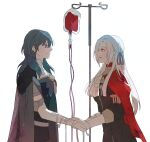 2girls aqua_hair blood blood_bag byleth_(fire_emblem) byleth_(fire_emblem)_(female) cape edelgard_von_hresvelg fire_emblem fire_emblem:_three_houses garreg_mach_monastery_uniform gloves green_hair hair_ribbon holding_hands intravenous_drip iv_stand multiple_girls namahamu_(hmhm_81) red_cape ribbon smile transfusion violet_eyes white_hair